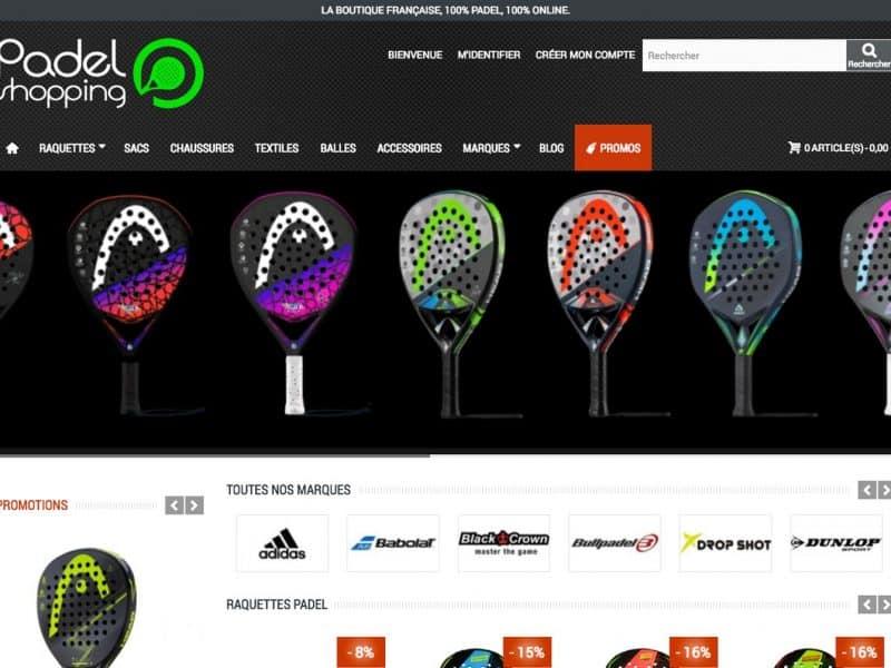 Site web Padel Shopping - vue desktop 1
