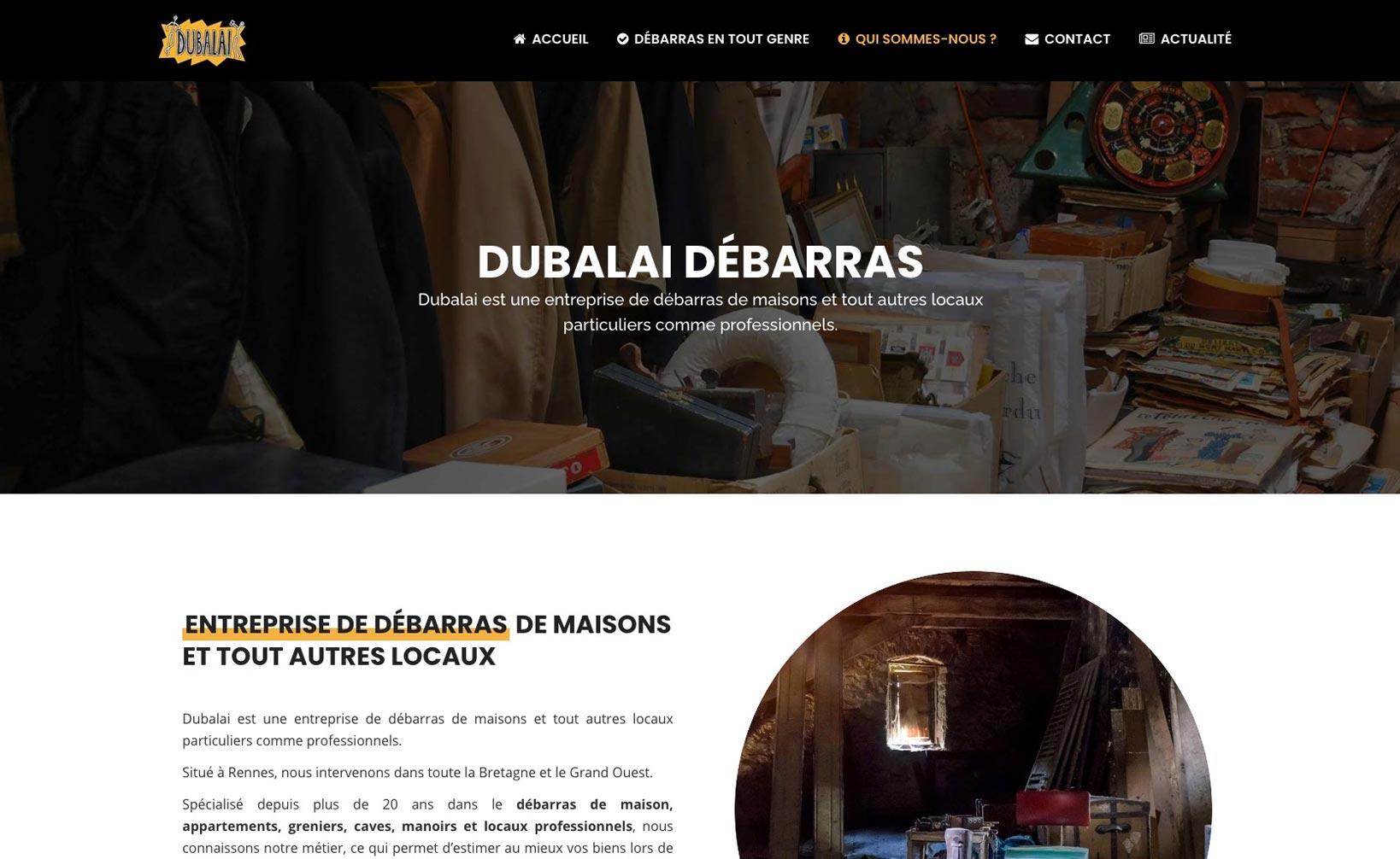 Dubalai Débarras - site web vue bureau