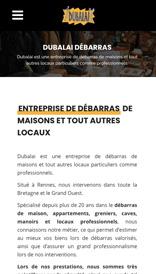 Dubalai Débarras - site web vue mobile